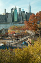 Brooklyn bridge park view of manhattan new york afternoon autumn light on shown here as still under construction viewed from Royalty Free Stock Photos