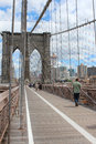 Brooklyn bridge pedestrian walkway the is a in new york city and is one of the oldest suspension bridges in the united states Royalty Free Stock Images