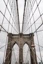 Brooklyn bridge rainy day. Close Up view of Brooklyn bridge in New York City. Royalty Free Stock Photo
