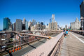 Brooklyn bridge start new york city usa august tourists and people to cross the from manhattan to exit and take a walk in a day Stock Photos