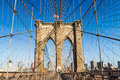 Brooklyn Bridge in summer, New York City Royalty Free Stock Photo