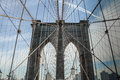 Brooklyn Bridge with the suspending ropes Royalty Free Stock Photo