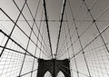 Brooklyn Bridge tower, in Black & White, with symmetrical suspension cables, New York City Royalty Free Stock Photo