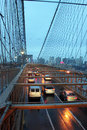 Brooklyn bridge traffic a view of the on the at dusk Royalty Free Stock Images