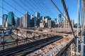 Brooklyn bridge view of lower manhattan new york city from the Stock Images