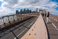 Brooklyn Bridge walkway Stock Photo