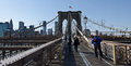 Brooklyn Bridge walkway Royalty Free Stock Photos
