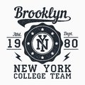 Brooklyn, New York grunge print for apparel. Typography emblem for t-shirt. Design for athletic clothes. Vector. Royalty Free Stock Photo