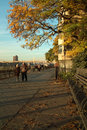 Brooklyn promenade new york afternoon autumn light on the empire state building and bridge are in the distance Stock Photography