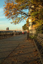 Brooklyn promenade new york afternoon autumn light on the empire state building and bridge are in the distance Royalty Free Stock Photos