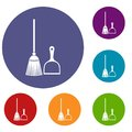 Broom and dustpan icons set