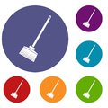 Broom icons set