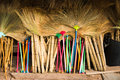 Broom made ​​of grass to tie together Royalty Free Stock Image