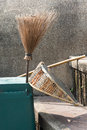 Broom sweep the trash equipment cleaning Stock Image