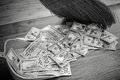 Broom sweeps dollars in garbage scoop