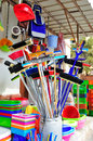 Brooms and cleaning supplies colorful Royalty Free Stock Photo