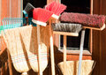 Brooms shop closeup Stock Image