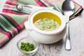 Broth in bowl fresh appetizing white on table selective focus Royalty Free Stock Photography