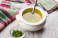 Broth in bowl fresh appetizing white on table selective focus Stock Images