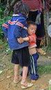 Brother is hugging his sister oudoor in sa pa vietnam june vietnam Royalty Free Stock Image