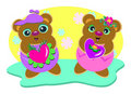 Brother and Sister Bears with Love Royalty Free Stock Photo