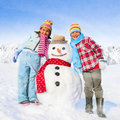 Brother and Sister Having Fun in Winter Concept Royalty Free Stock Photo
