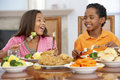 Brother And Sister Having Lunch At Home Royalty Free Stock Photos