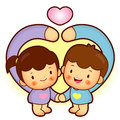 Brother and Sister Mascot love gesture. Home and Family Characte Stock Photography