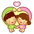 Brother and Sister Mascot love gesture. Home and Family Characte Royalty Free Stock Photo