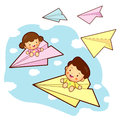 Brother and sister playing in the big a paper airplane.. Home an Royalty Free Stock Photography