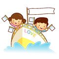 Brother and sister playing in the ship . Home and Family Charact Royalty Free Stock Image