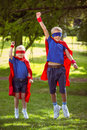 Brother and sister pretending to be superhero Royalty Free Stock Photo