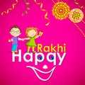 Brother and sister in raksha bandhan vector illustration of Stock Image