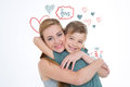 Brotherhood and love boy hugs his older sister on colorful background Royalty Free Stock Photo