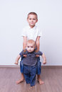 Brothers big brother holding little brother Royalty Free Stock Photos