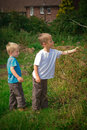 Brothers in the field Royalty Free Stock Photo