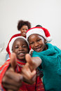 Brothers fingers up in christmas beautiful fingering Royalty Free Stock Images