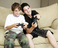 Brothers Play Video Games Royalty Free Stock Photo