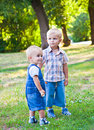 Brothers are staying in the park Royalty Free Stock Photography
