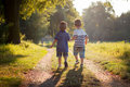 Brothers walking in a park holding hands Royalty Free Stock Photography