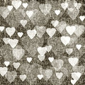 Brown background with hearts linen texture dark textured fabric Royalty Free Stock Images