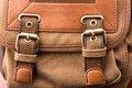 Brown backpack buckle a close up of Royalty Free Stock Photography