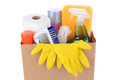 Brown Bag Full of Cleaning Supplies Stock Photos