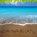 Brown beach sand with written word Canarias Royalty Free Stock Photography