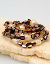 Brown Beads and Pearl bracelets Stock Image