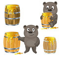 Brown bear with a barrel of honey fully editable vector image Royalty Free Stock Photo