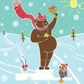 Brown bear champion on pedestal.Wnners Awarding. W Royalty Free Stock Photo