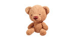 Brown bear doll crochet isolated on white Stock Photo