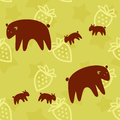 Brown bear family seamless pattern Royalty Free Stock Images