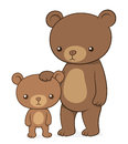 Brown bear with her cute little cub teddy Royalty Free Stock Photo